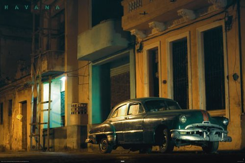 HUGE LAMINATED / ENCAPSULATED Havana Cuba Green Car POSTER m