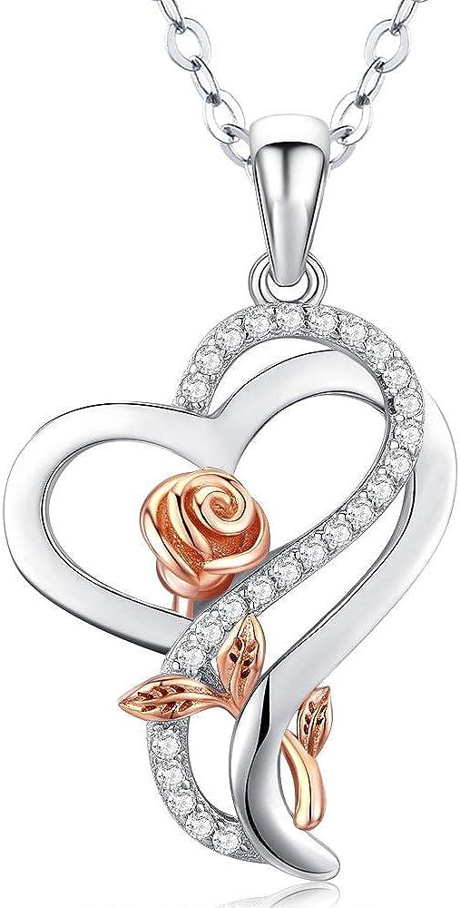 מתנות ליום האהבה תליון לב כפול עם ורד