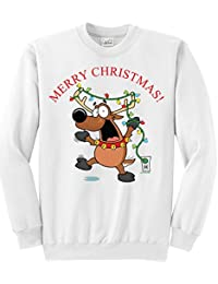 Joe's USA(tm) - Santa's Reindeer Fun Christmas White Crewneck Sweatshirt, XXXXL