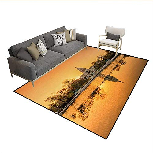 Carpet,Washington DC American Capital City White House Above The Lake Landscape,Customize Rug Pad,Apricot GingerSize:6'6