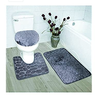 Fancy Collection 3 Pc Bath Rug Set Memory Foam Non-Slip Bathroom Rug Contour, Mat And Toilet Lid Cover Solid Charcoal/Dark Grey New