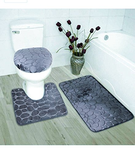 Elegant Home 3 Piece Solid Color Rock Embossed Memory Foam Bathroom Rug Set Bath Rug, Contour Mat, Lid Cover Non-Slip with Rubber Backing # New Rock (Charcoal/Dark Grey) 3 Piece Bathroom Set