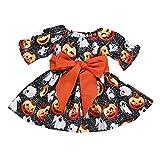 Ankola Girl's Halloween Dress,Toddler Baby Girls Pumpkin Ghost Print Long Sleeve Dress Clothes Outfits (4T, Black)