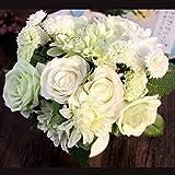 Bringsine Bridal Wedding Bouquet Flower Arrangement Home Decorative Flowers Real Touch Silk Artificial Flowers- Rose, Daisy, Dahlia, Wedding Decoration, Flowers Bunch Hotel Party Garden Floral Decor