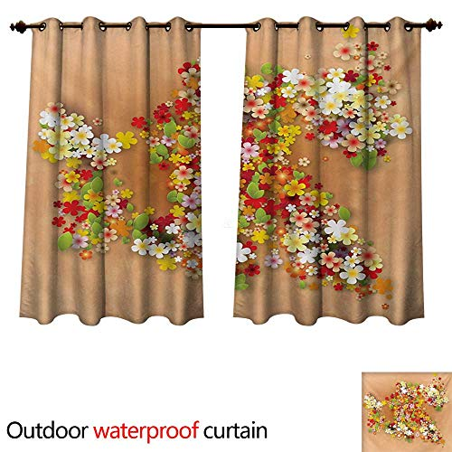 WilliamsDecor Floral Outdoor Balcony Privacy Curtain Summer Season Sale Banner with Paper Flowers and Black Frame Illustration W120 x L72(305cm x 183cm)