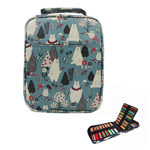 LumsBright 150 Slots Colored Pencils Case Bag, Multi-Layer Large Capacity Pen Organizer Stationery Pouch for Artist Students School Supply (Garden Bear-Grey)