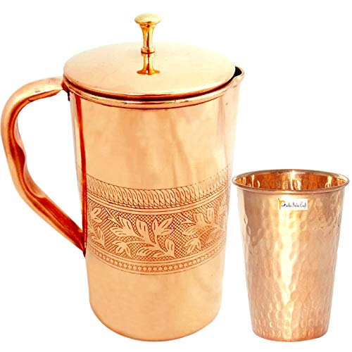 Prisha India Craft Pure Copper Jug Picture with 1 Tumbler Glass for Ayurveda Healing  Gold