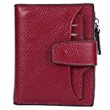 AINIMOER Women's RFID Blocking Leather Small Compact Bi-fold Zipper Pocket Wallet Card Case Purse (Lichee Wine)