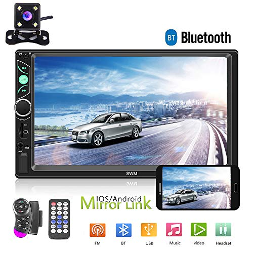 "Double Din Car Stereo Radio 7"" HD Touch Screen Car Audio Bluetooth FM Radio USB Car Audio Video Player Support Phone Mirror Link + Car Backup Camera and Steering Wheel Control"