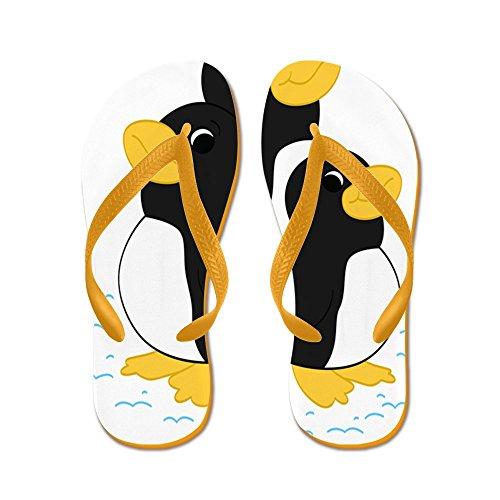 Cafepress Penguin Friends - - Chanclas, Sandalias Thong Divertidas, Sandalias De Playa Naranja