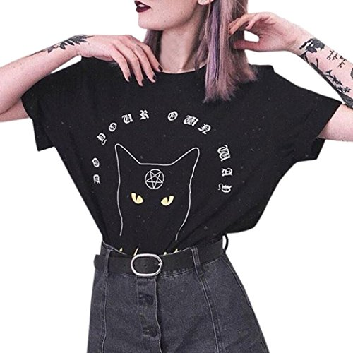 TOTOD Womens Fashion Cat Lettering Jacket Loose Casual Cat Print Short Sleeve T-Shirt Tops O-Neck Blouse (S, Black)