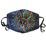 French Bulldog With Indian Feathers Hat Unisex Activated Carbon Anti Dust Face Mask Mouth Masks With Adjustable Straps