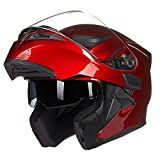 ILM Motorcycle Dual Visor Flip up Modular Full Face Helmet DOT with 6 Colors (L, RED)