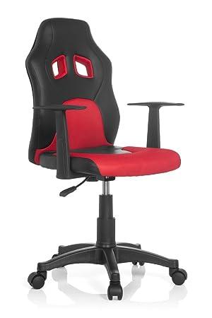 hjh OFFICE Teen Racer Al Silla Infantil, Piel_sintética, (Negro/Rojo), 41x51x103 cm: Amazon.es: Hogar