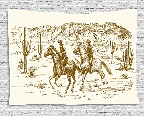 Ambesonne Western Tapestry, Country Theme Hand Drawn Illustration of American Wild West Desert with Cowboys, Wall Hanging for Bedroom Living Room Dorm, 80WX60L Inches, Cream Umber -