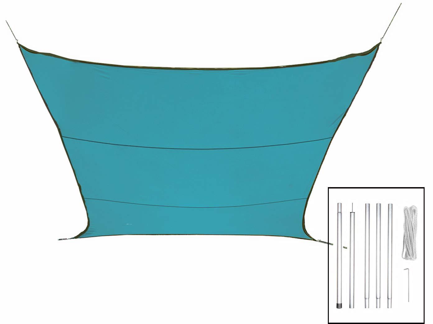 Sonnensegel Rechteckig 2x3m Farbe Blau mit Stangenset - Ihren Sonnenschutz für Ihren - Garten  282198