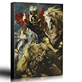 wall26 - Oil Painting of St George Fighting The Dragon by Peter Paul Rubens in 1606-10 - Baroque Style - Saint, Catholic - Canvas Art Home Decor - 24x36 inches