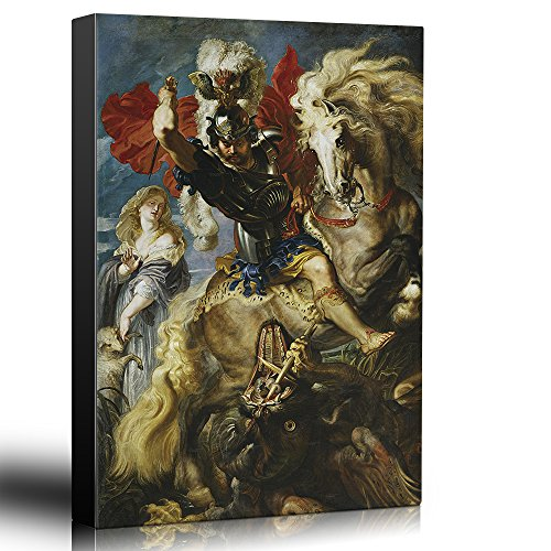 wall26 – Oil Painting of St George Fighting The Dragon by Peter Paul Rubens in 1606-10 – Baroque Style – Saint, Catholic – Canvas Art Home Decor – 16×24 inches