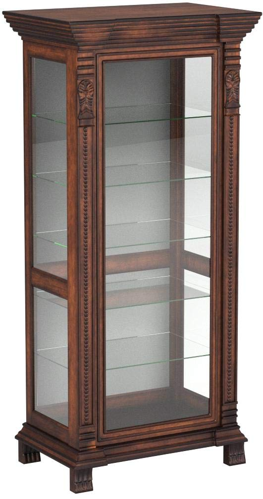 Coaster Furniture Curio Cabinets Collection 32 x 21 x 75 inches 6 Shelf Rectangular Curio Cabinet , Brown red finish by Coaster Home Furnishings