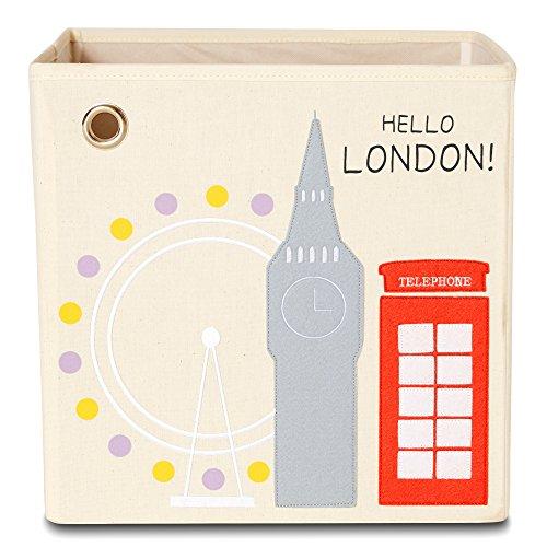 kaikai & ash Storage Box by, Canvas Foldable Toy Bin, Travel Theme Decor for Kids Room and Baby Nursery - Hello London! from kaikai & ash