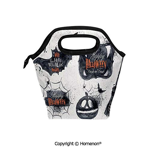 Insulated Neoprene Soft Lunch Bag Tote Handbag lunchbox,3d prited with Halloween Symbols Happy Holiday Witch Lives Here Broomstick Spider Web,For School work Office Kids Lunch Box & Food Container