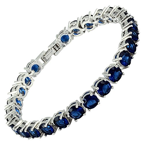 (RIZILIA Round Cut Simulated Blue Sapphire CZ 18K Gold Plated Tennis Bracelet, 7