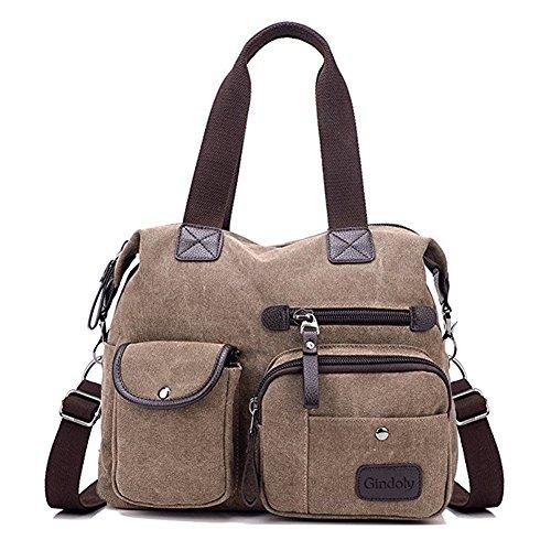Bolso de las mujeres,Gindoly Bolsillos múltiples Bolso de hombro grande bolso de mano de moda Bolsas de Hobo de lona para compras y trabajos escolares de viajes marrón
