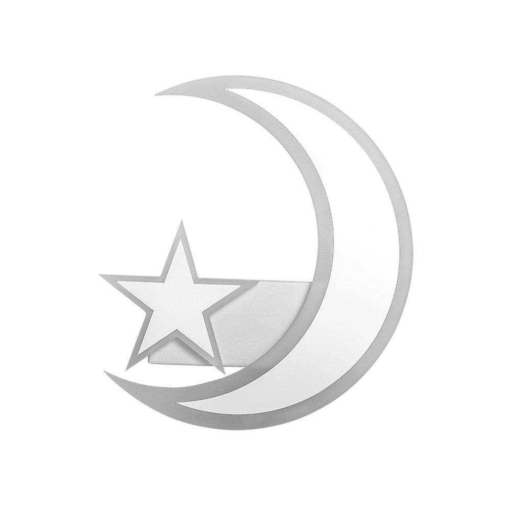 WANGLucky LED Star Moon Lámpara De Pared Creative Children Room Dormitorio Dormitorio Lámpara Corredor Iluminación Decorativa