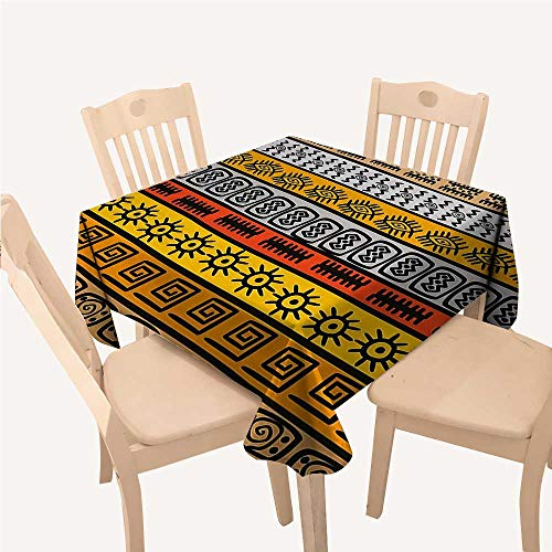 WilliamsDecor Tribal Decor tablecloths for Kids Ethnic African Motifs with Hand Drawn Borders Pattern ArtworkBlack Orange and Yellow Square Tablecloth W60 xL60 inch