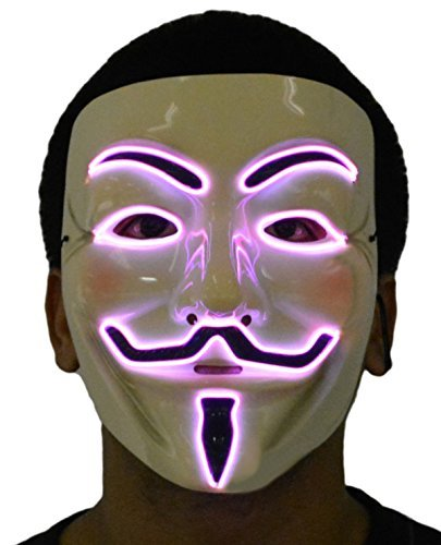 JenniWears V for Vendetta Guy Fawkes LED Anonymous Rave Mask EL Wire Pink for Party Halloween ()