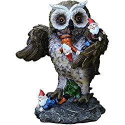 Gnome Massacre Statue,Funny Gnomes and Owl Garden Sculptures 12inch.CCOQUS Original Outdoor Statue Gifts.