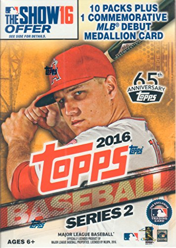 2016 Topps MLB Baseball Series #2 Unopened Blaster Box with One Exclusive MLB Debut Commemorative Medallion Card and 10 Packs of 10 Cards, 101 Cards -