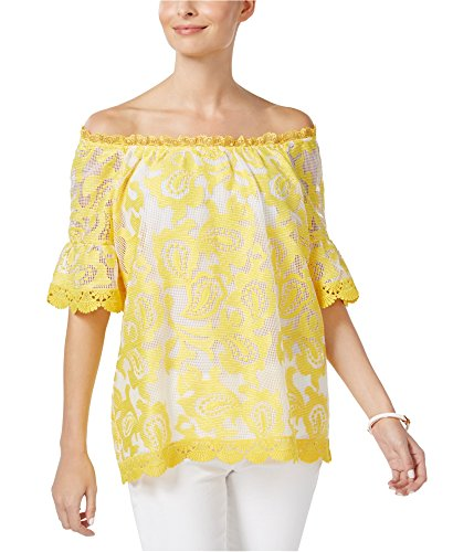 Charter Club Womens Embroidered Scallop Casual Top Yellow XL from Charter Club