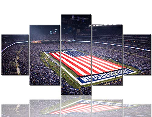 Lucas Oil Stadium Pictures New England Patriots vs the Indianapolis Colts Paintings 5 Panel Canvas Wall Art Modern Artwork Home Decorations for Living Room Framed Stretched Ready to Hang(60''Wx32''H)