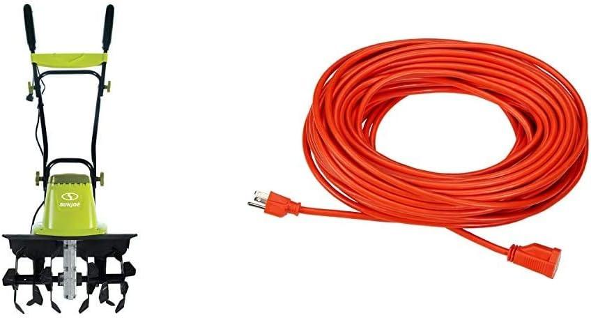 Sun Joe TJ604E 16-Inch 13.5 AMP Electric Garden Tiller/Cultivator,Black & AmazonBasics 16/3 Vinyl Outdoor Extension Cord | Orange, 100-Foot
