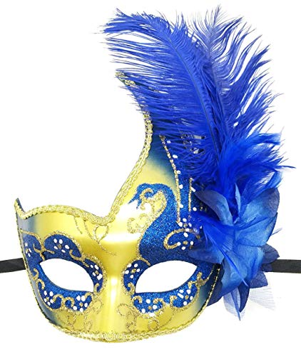 Biruil Feather Masquerade Mask Eyemask Halloween Mardi Gras Cosplay Party Face Mask (Blue/Gold) ()