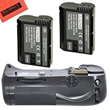 Battery Grip Kit for Nikon D600 D610 Digital SLR Camera Includes Qty 2 Replacement EN-EL15 Batteries + Vertical Battery Grip + LCD Screen Protectors + Micro Fiber Cleaning Cloth