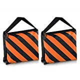 SODIAL(R) Heavyweight bag Heavy duty film bag for studio video studio for light supports tripod arms (2 Pcs Set, Black + Orange)