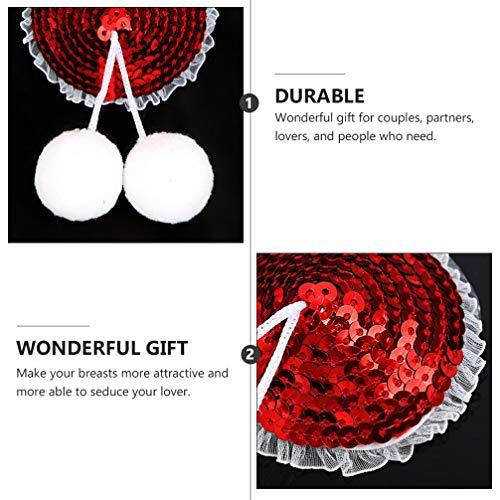 ABOOFAN 1 Pair Christmas Nipple Cover Santa Hat Sequin Tassel Breast Pads Pasties Bra Reusable Adhesive Breast Concealer Pad for Women Ladies (Red), 10x5.5cm