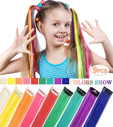 (Rhyme 20 '' 9 Pieces Party Highlights Colored Hair Extensions Clip In/On For Girls and Dolls Wig Pieces for Kids Girls Hair Accessories (Rainbow Color))