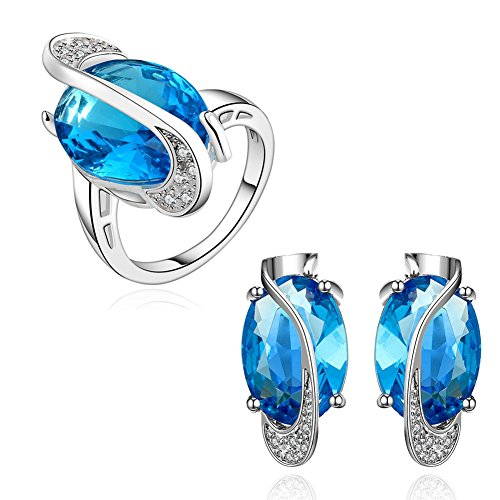 Peacock Crystal Oval Cut Stud Earrings Women Jewelry Cubic Zirconia Edge Platinum-Plated Earring Studs