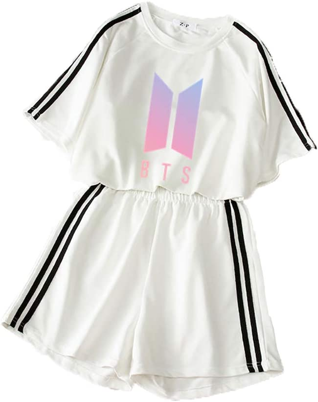 GAOFANG Moda 3D Digitale KPOP BTS Stampare Crop Top T-Shirt E Pantaloncini Abbigliamento Due Pezzi Suit per Ragazze E Donne Sportswear