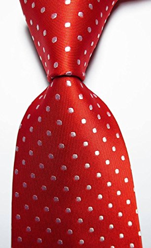 Ddang - New Classic Polka Dot Red White JACQUARD WOVEN 100% Silk Men's Tie Necktie TNT - Sunglasses Cambridge