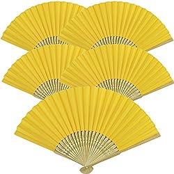 "Just Artifacts Folding Paper Hand Fan 8.25"" Lemon Yellow (5 pcs)"