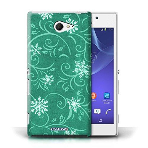 pour Sony Xperia M2 / Turquoise conception / Collection de Motif flocon de neige