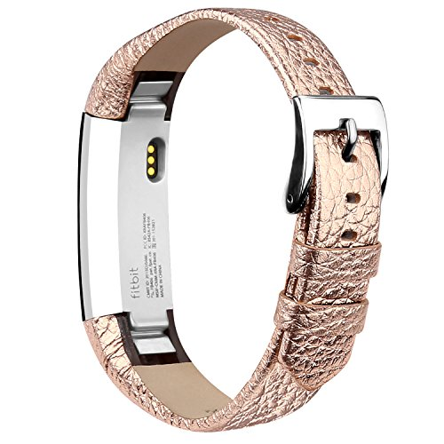 iGK Leather Replacemnt Bands Compatible for Fitbit Alta and Fitbit Alta HR, Genuine Leather Wristbands with Stainless Steel Buckle Rose Gold