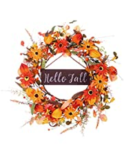 """Artificial Fall Wreath with """"Hello Fall"""" Sign,20"""" Autumn Front Door Wreath Fall Flower Wreath with Pumpkin and Berry for Home Farmhouse Wall Window and Thanksgiving Decor-Beautiful Gift Box Included"""