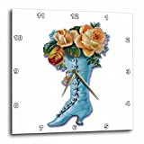 3dRose dpp_170320_1 Pretty Light Blue Victorian Boot Filled with Peach Colored Roses-Wall Clock, 10 by 10-Inch For Sale