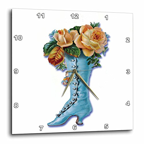 3dRose dpp_170320_1 Pretty Light Blue Victorian Boot Filled with Peach Colored Roses-Wall Clock, 10 by 10-Inch
