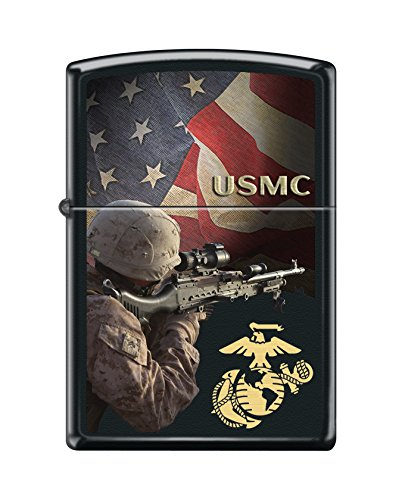 Zippo USMC Soldier Black Matte Pocket Lighter